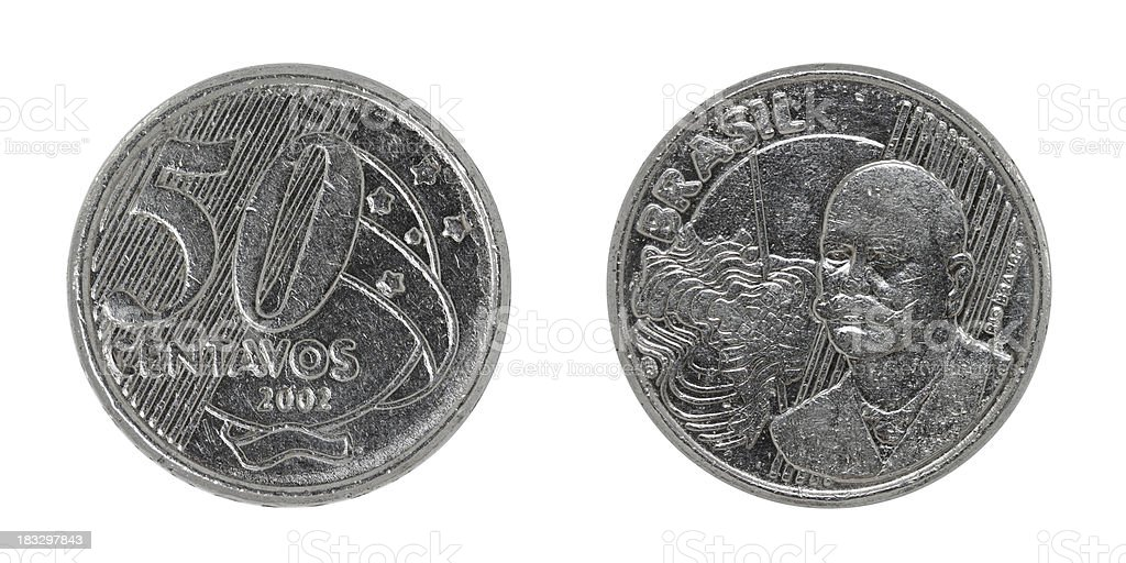 Brazilian fifty Centavos coin on white stock photo
