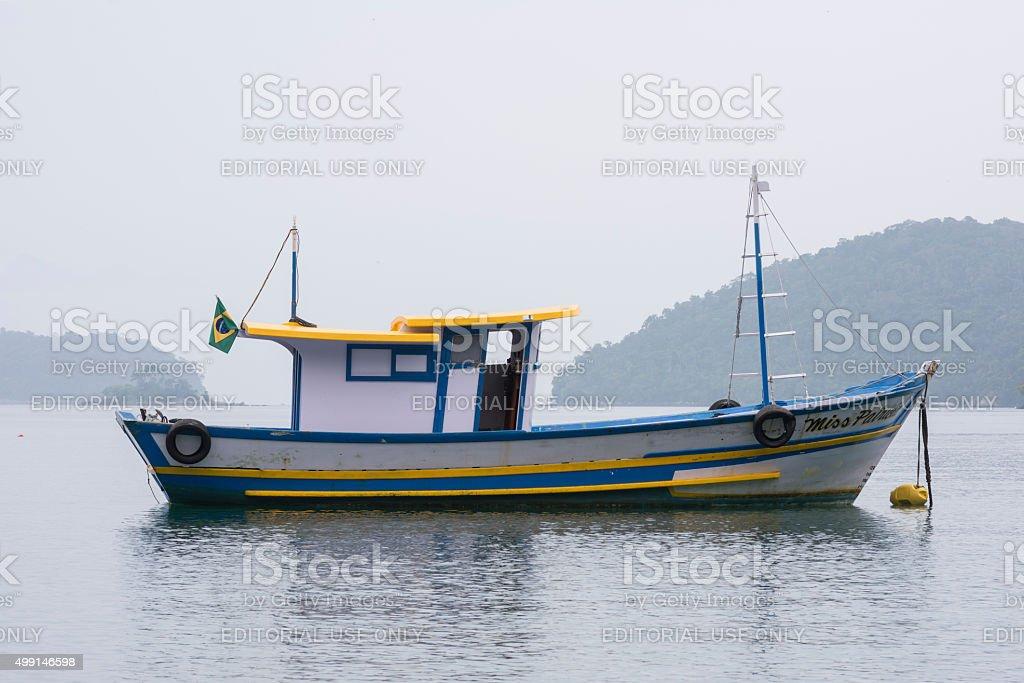 Brazilian fishing boat moored at buoy stock photo