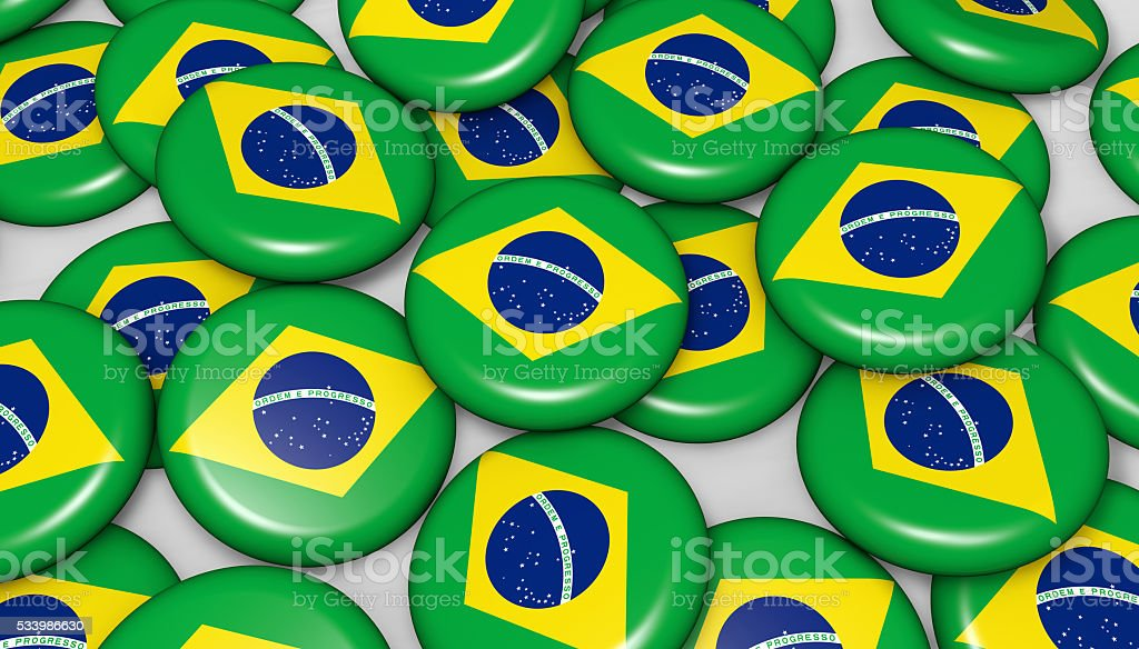 Brazilian Flag Badges Background stock photo