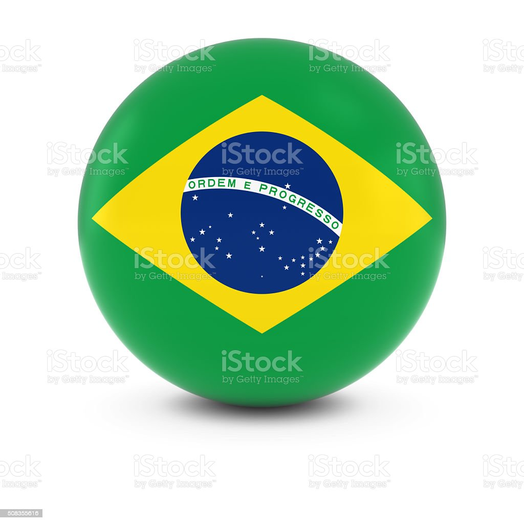 Brazilian Flag Ball - Flag of Brazil on Isolated Sphere stock photo