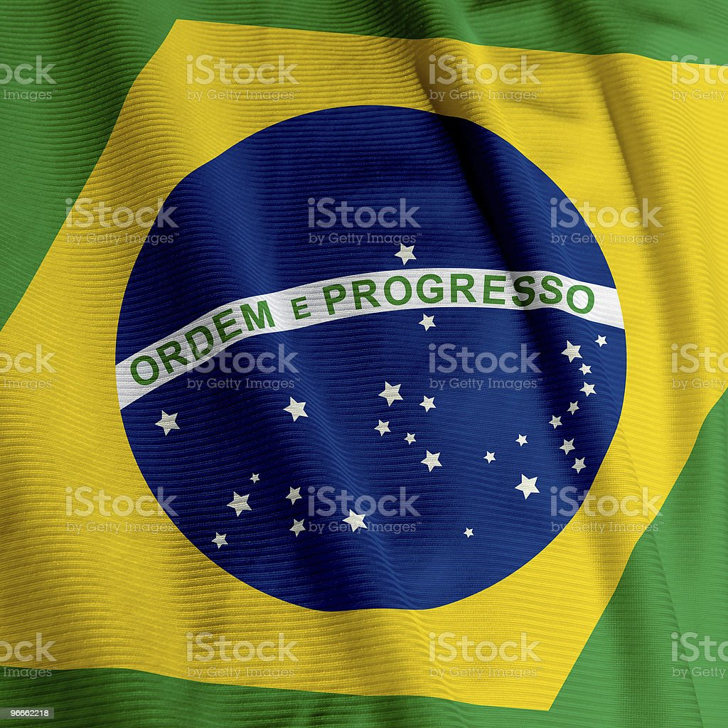 Brazilian Flag Closeup stock photo