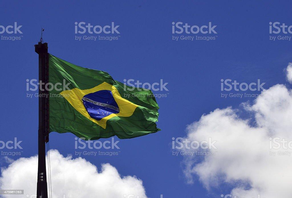 Brazilian flag in Brasilia, the world's largest. stock photo