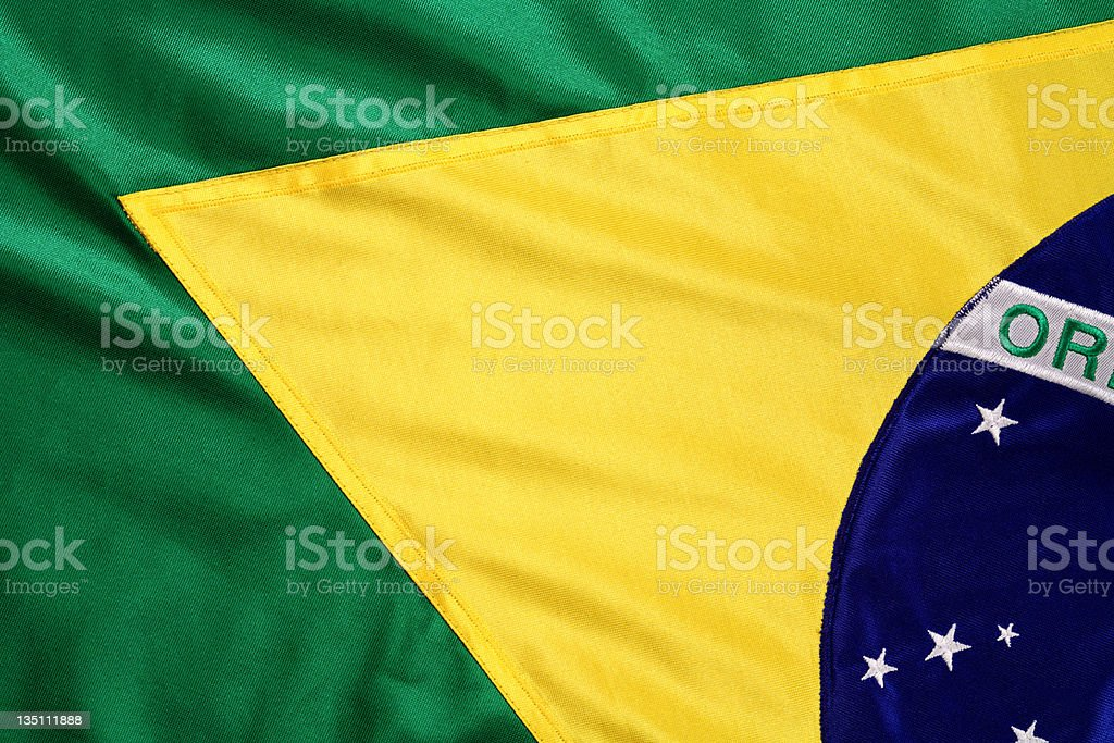 Brazilian flag in green and yellow royalty-free stock photo