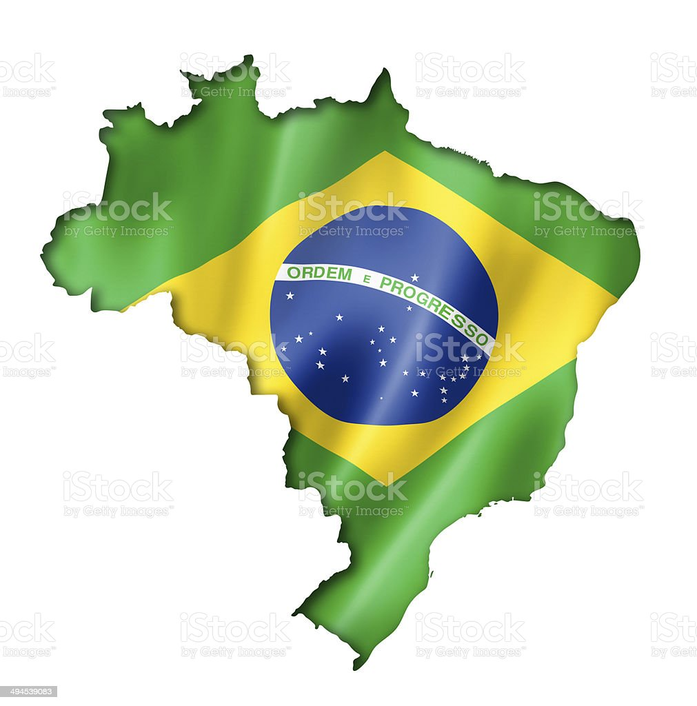 Brazilian flag map stock photo