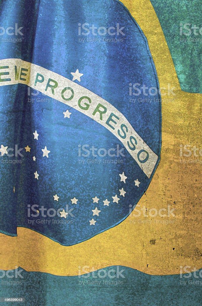 brazilian flag on grunge concrete background stock photo
