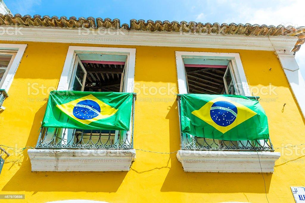 Brazilian flag on the Balcony stock photo