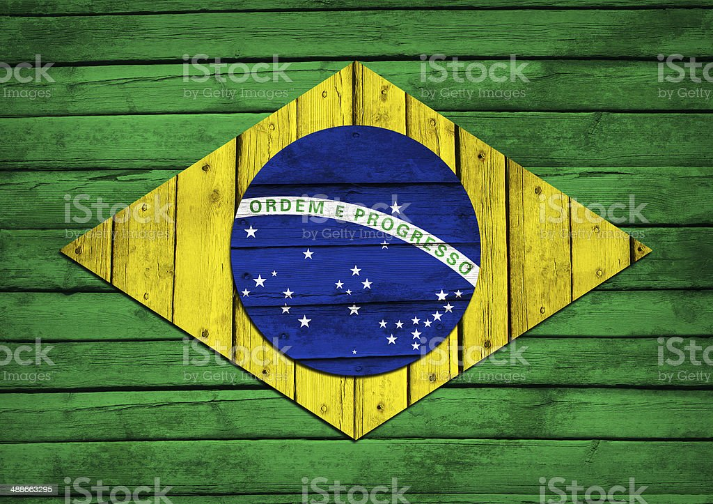 Brazilian flag painted on wooden boards royalty-free stock photo