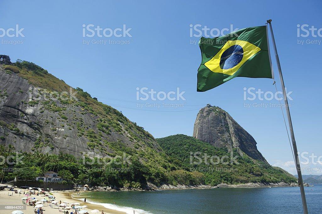 Brazilian Flag Red Beach Sugarloaf Rio Brazil stock photo