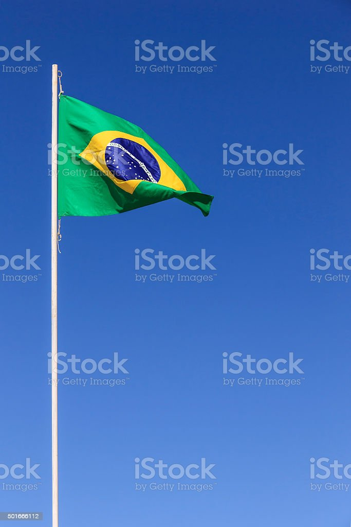 Brazilian flag waving stock photo