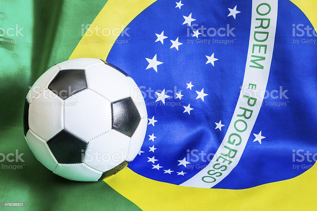 Brazilian flag with championship soccer ball royalty-free stock photo