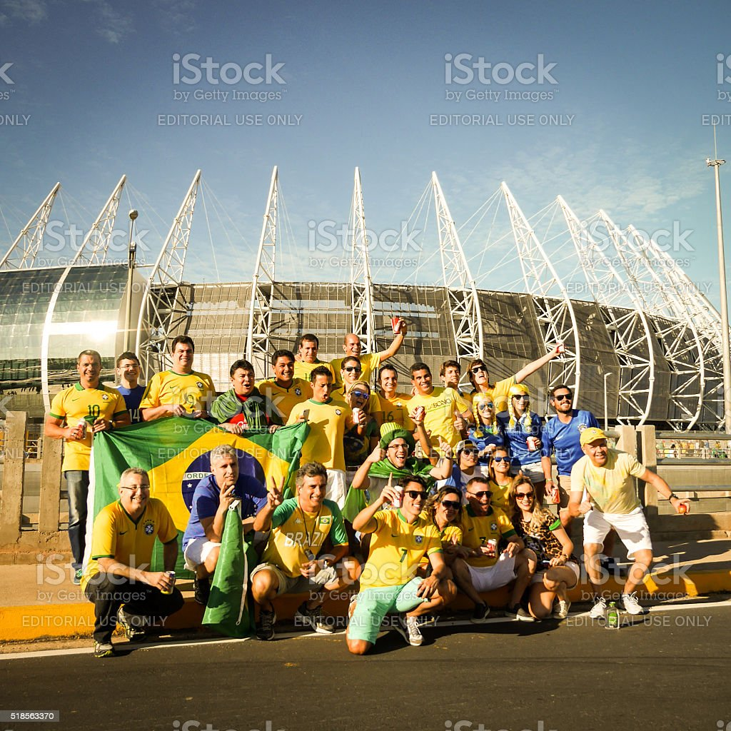 Brazilian football fans outside the Castelão stadium, Fortaleza, Brazil stock photo