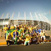 Brazilian football fans outside the Castelão stadium, Fortaleza, Brazil
