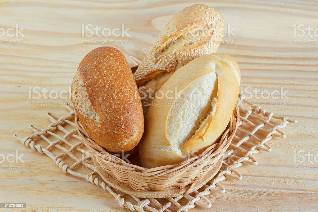 Brazilian french bread integral, mini baguette, with sesame in w stock photo