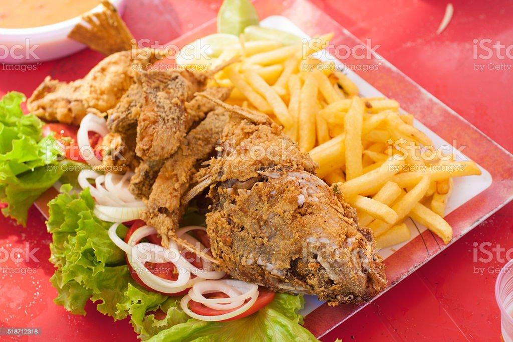 Brazilian  fried fish stock photo