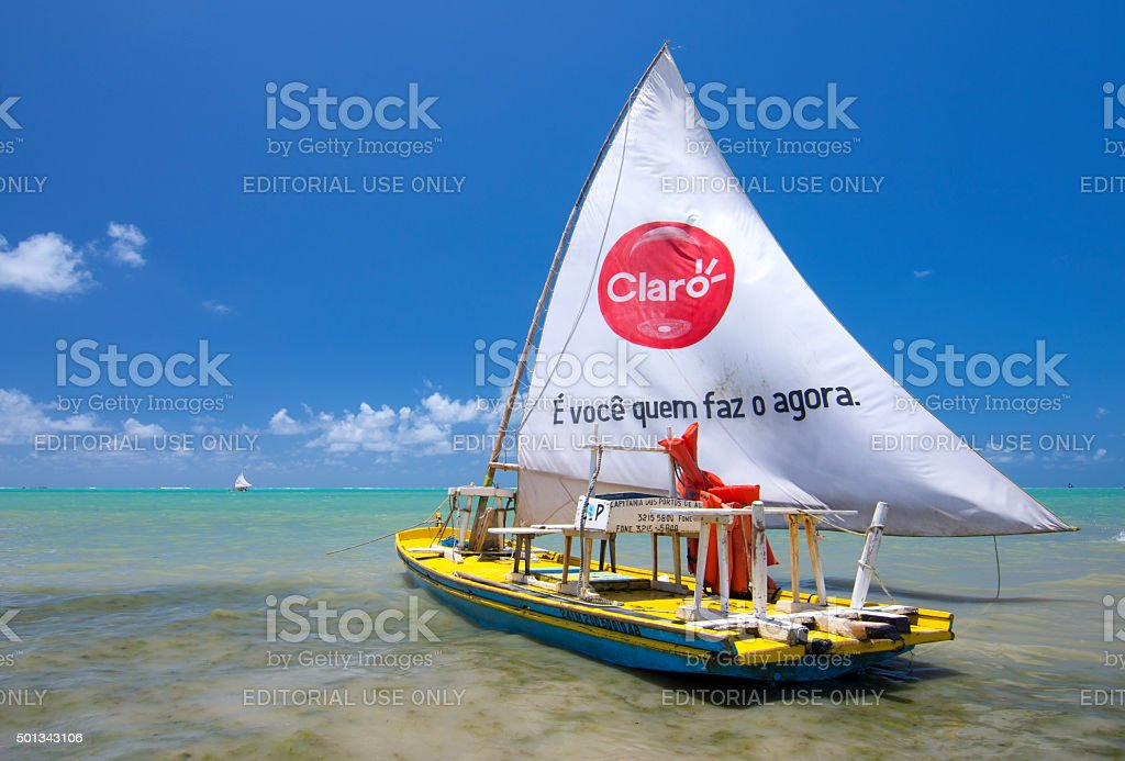 Brazilian jangada fishing boat stock photo
