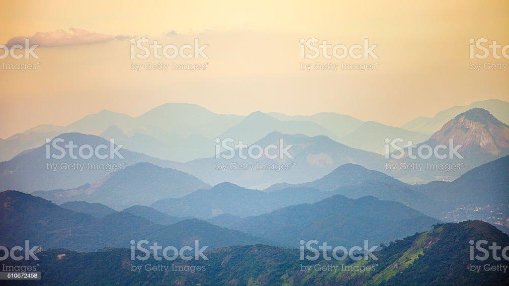 Brazilian landscape in sunset light. stock photo