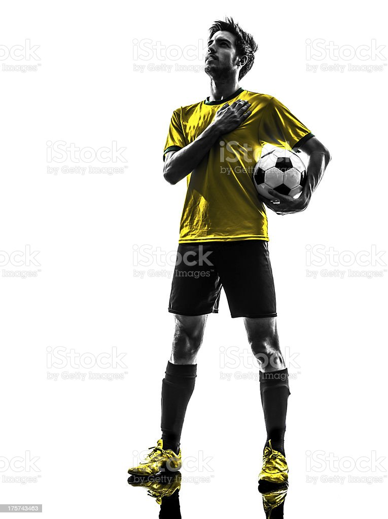 Brazilian male soccer player in yellow and black royalty-free stock photo