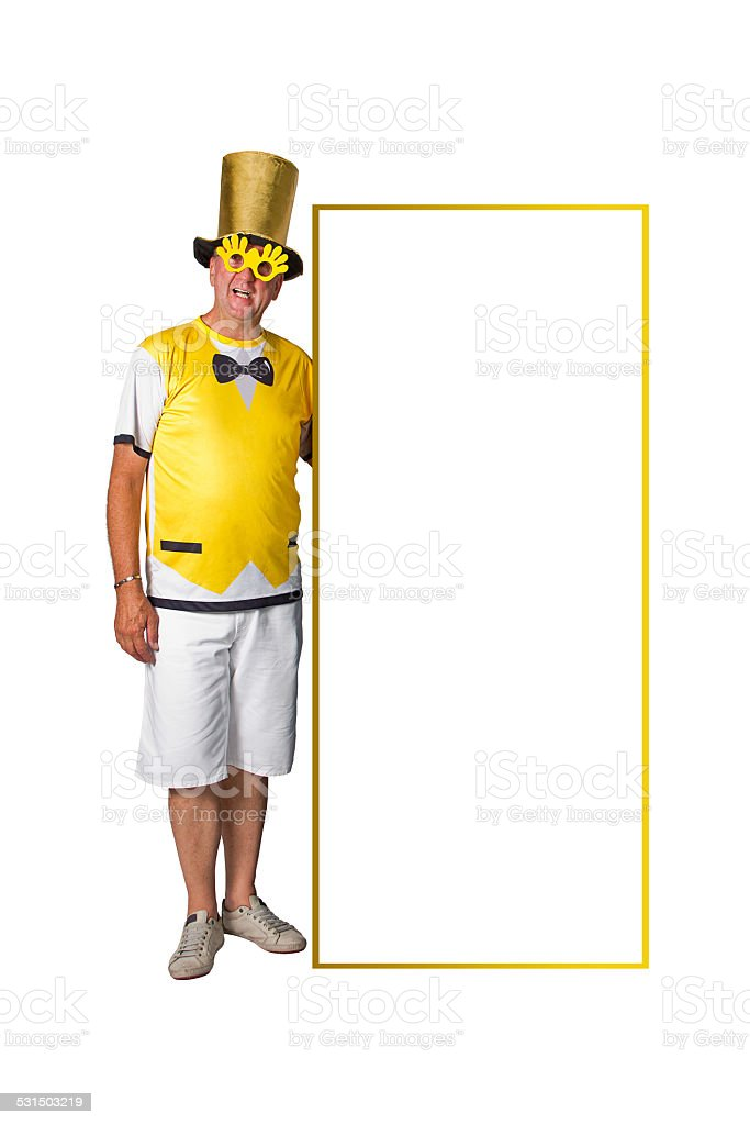 Brazilian man and placard stock photo