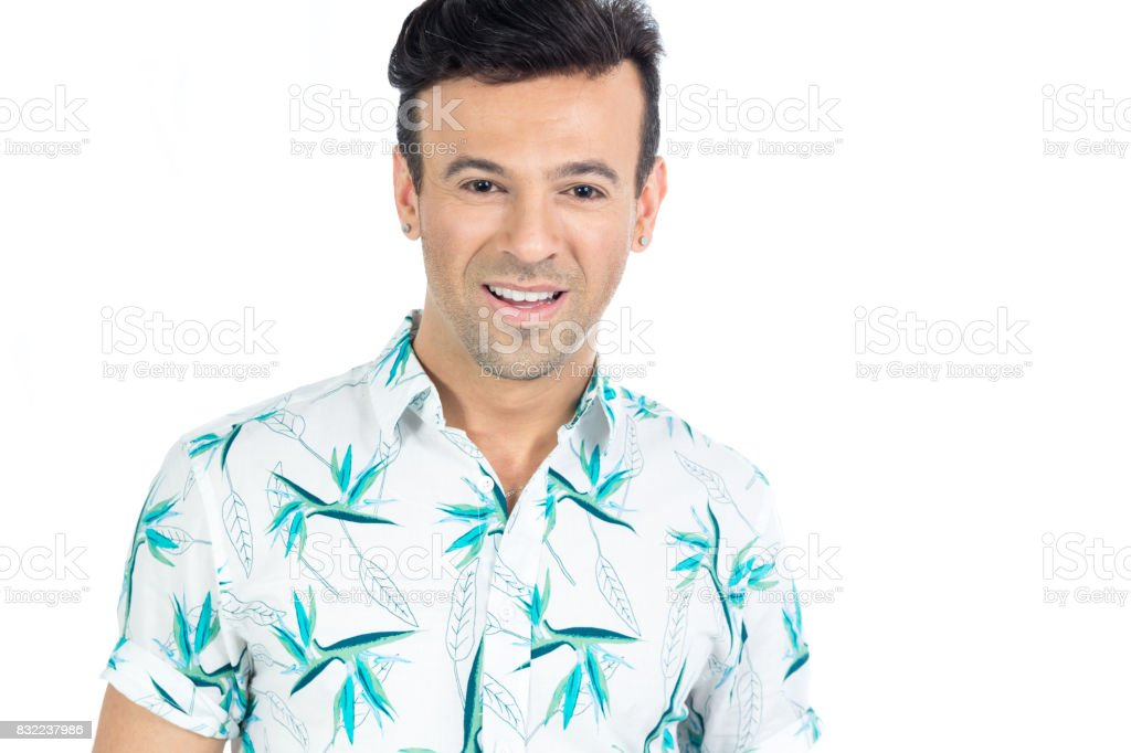Brazilian man wearing a floral shirt, Hawaiian style. Summer, tropical. stock photo