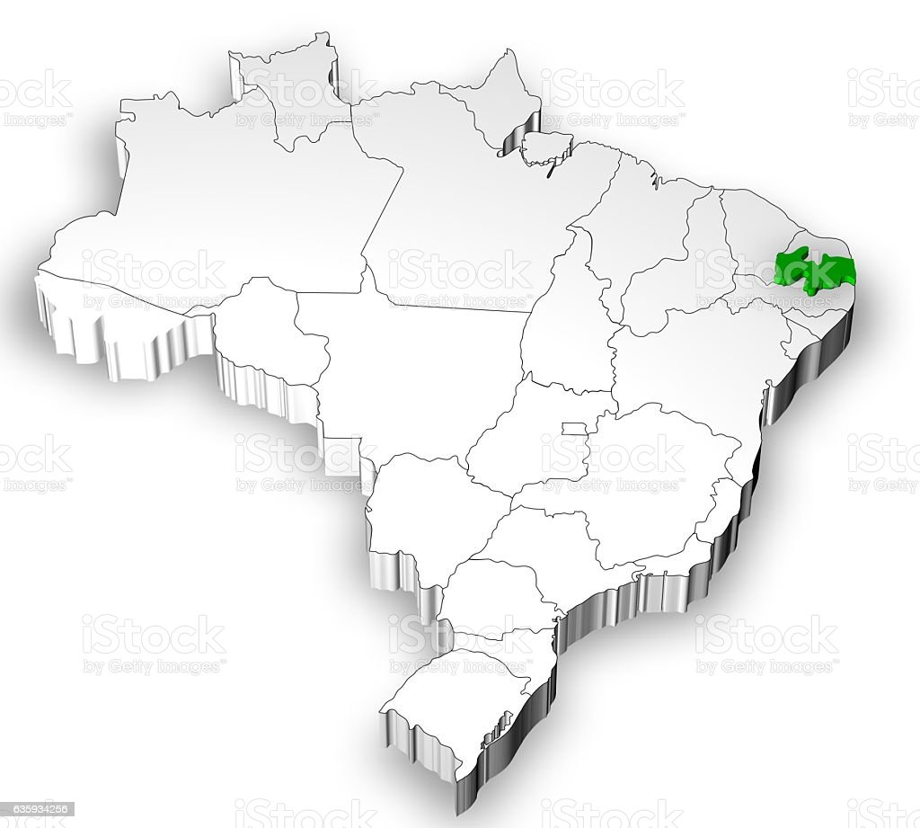 Brazilian map with states separated stock photo