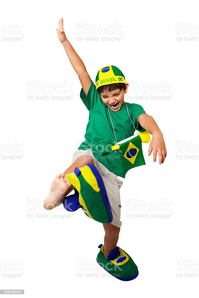 Brazilian mirim fan kicking stock photo