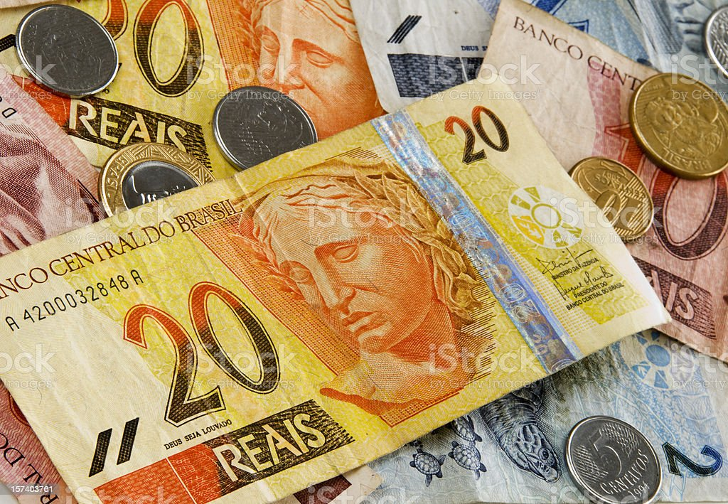Brazilian money (Reais) background stock photo