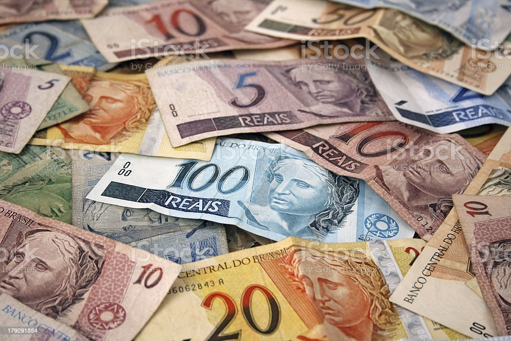 Brazilian money background stock photo