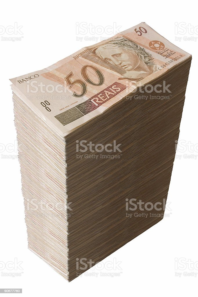 Brazilian money - Fifty Reais pile royalty-free stock photo