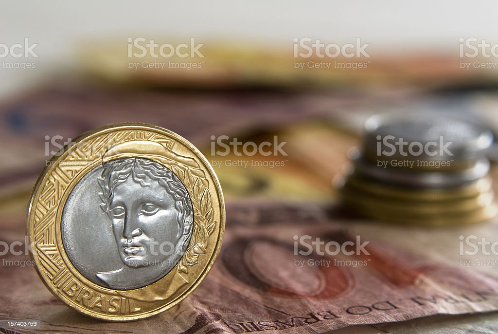 Brazilian money (Reais) stock photo