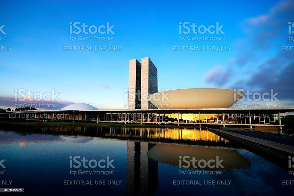 Brazilian National Congress at Sunset stock photo
