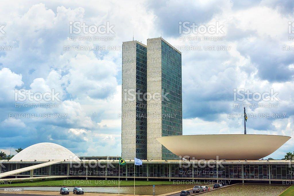 Brazilian National Congress Building in Brasilia, Brazil stock photo