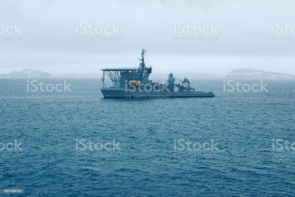 Brazilian Navy's Submarine Rescue Vessel near Maxwell Bay stock photo
