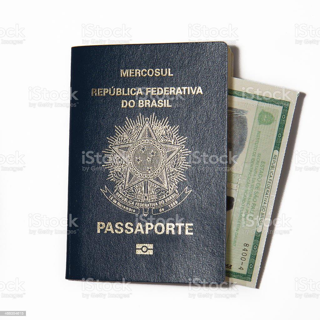 Brazilian Passport and ID card stock photo