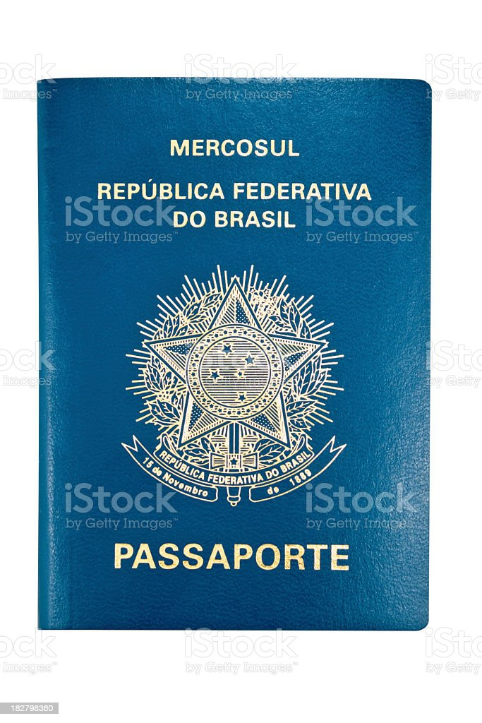 A Brazilian passport in front of nothing stock photo