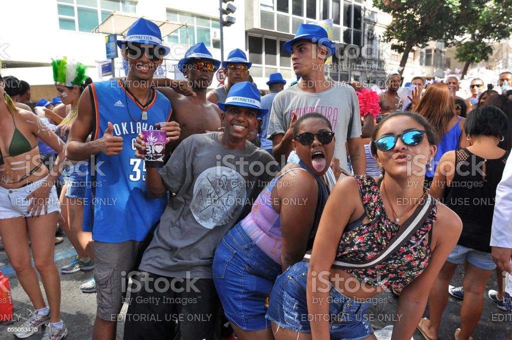 Brazilian People Celebrating Carnival in the Street stock photo