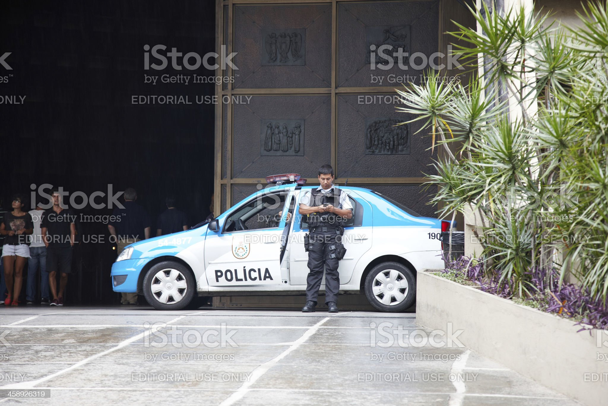 Brazilian police car and officer royalty-free stock photo
