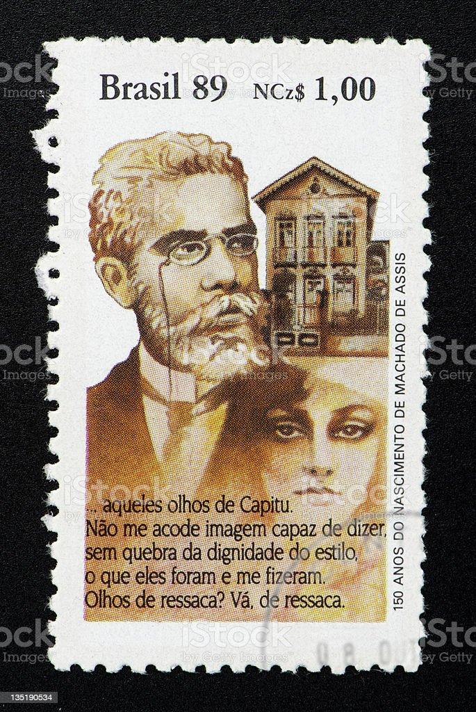 Brazilian postage stamp, on black background. stock photo