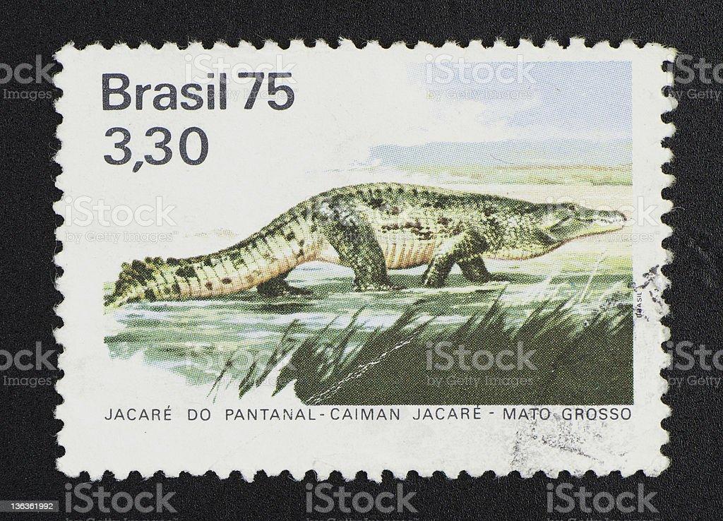 brazilian postage stamp, on black background stock photo