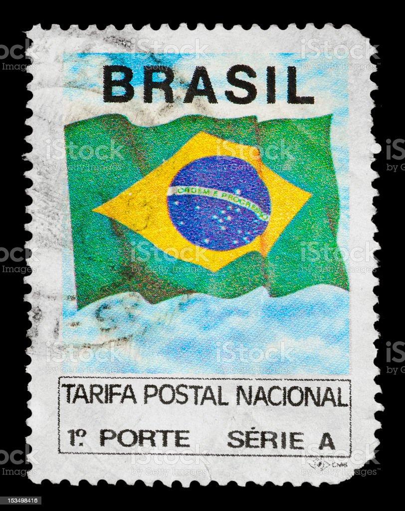 Brazilian postage stamp, on black background. royalty-free stock photo