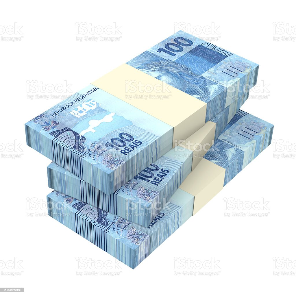 Brazilian reais isolated on white background stock photo