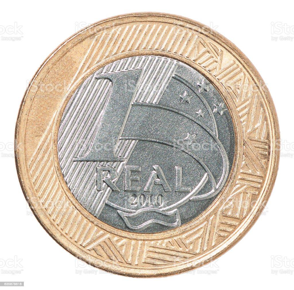 Brazilian real coin stock photo