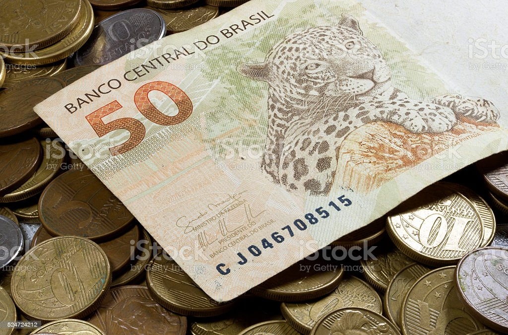 Brazilian Real Currency stock photo