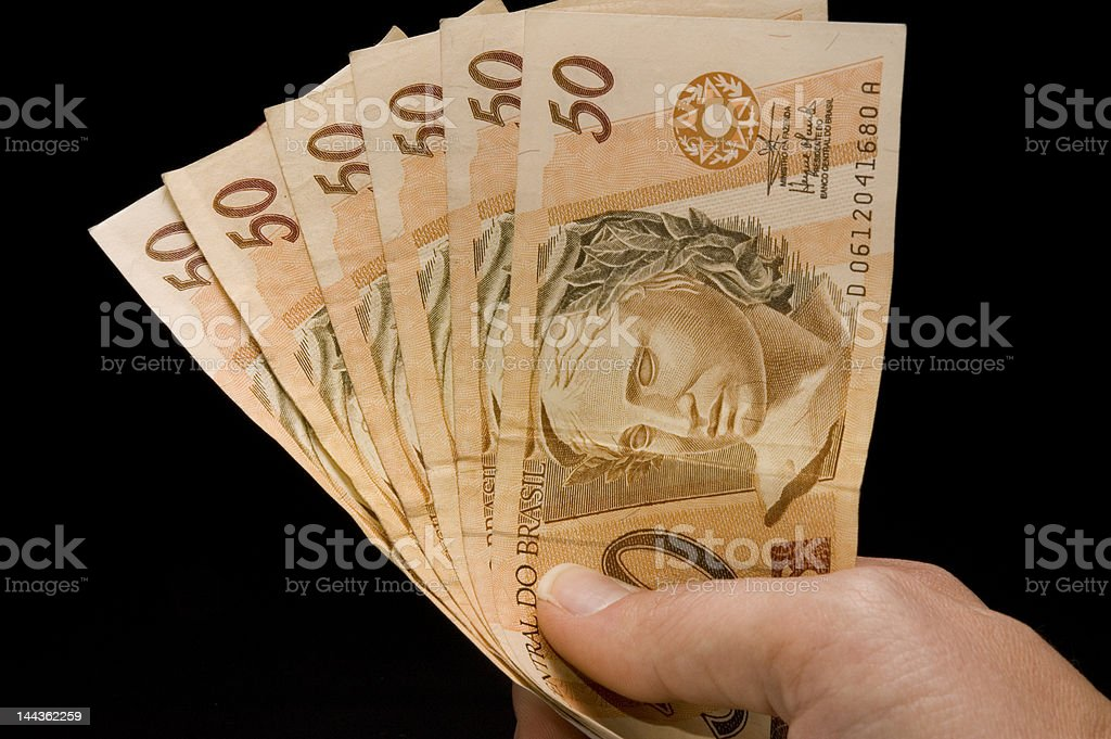 Brazilian real notes royalty-free stock photo
