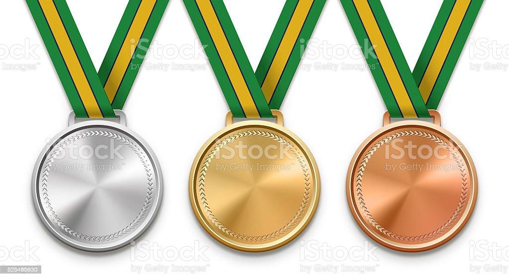 Brazilian Ribbon Medals stock photo