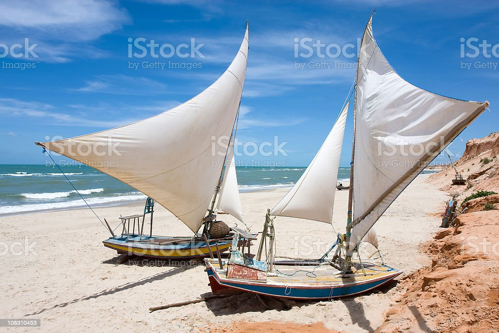 Brazilian Sail Boats in Ceara stock photo