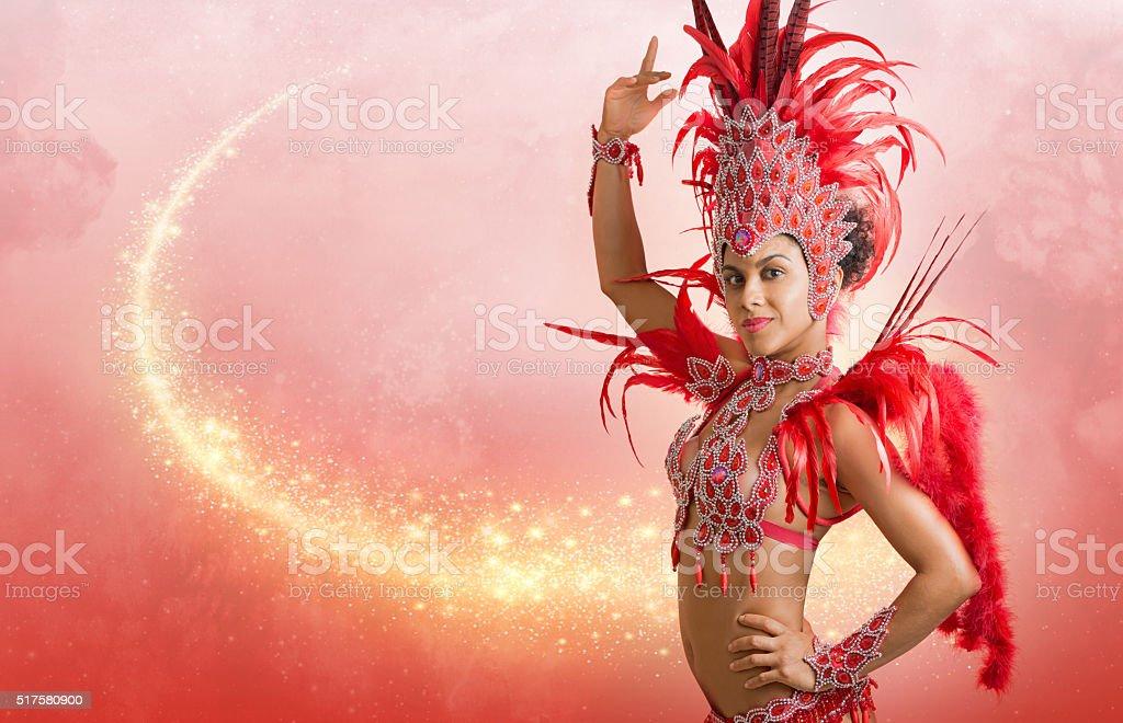 Brazilian samba dancer in carnaval costume stock photo