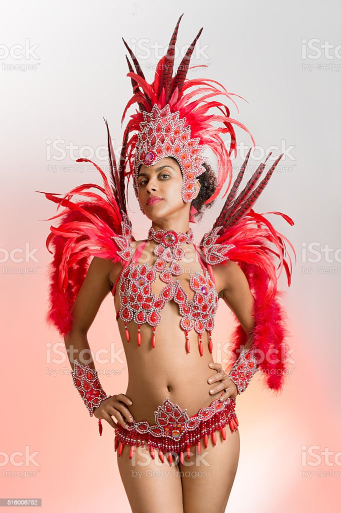 Brazilian samba dancer in carnival costume stock photo