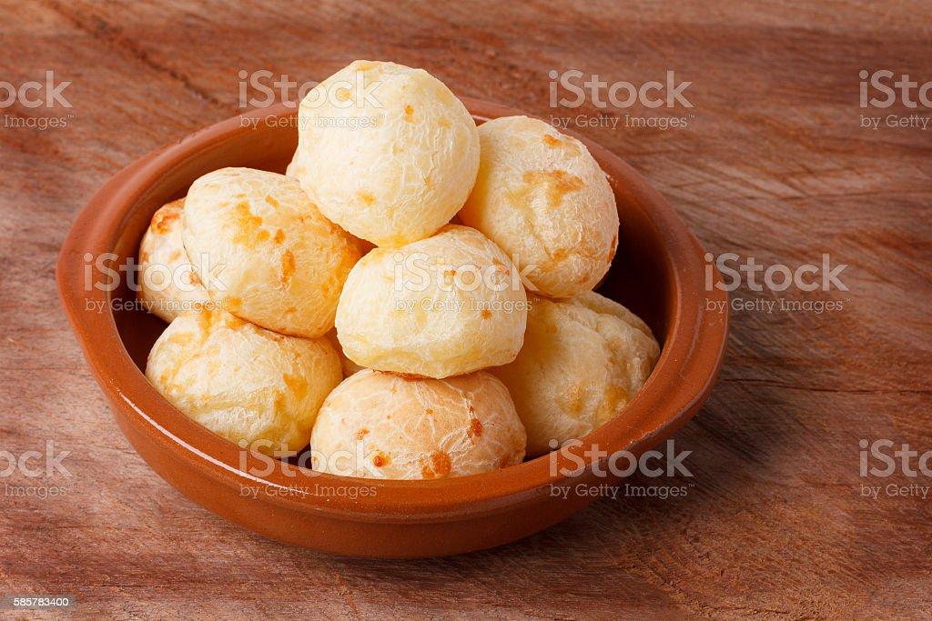 Brazilian snack cheese bread (pao de queijo) in bowl stock photo