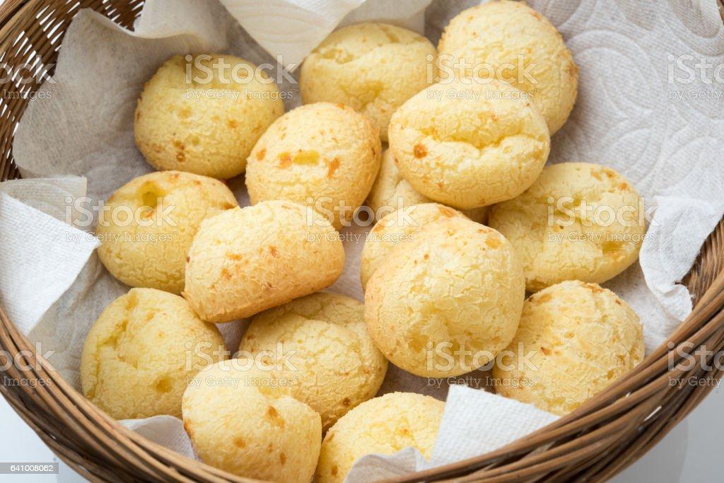Brazilian snack cheese bread (pao de queijo) stock photo