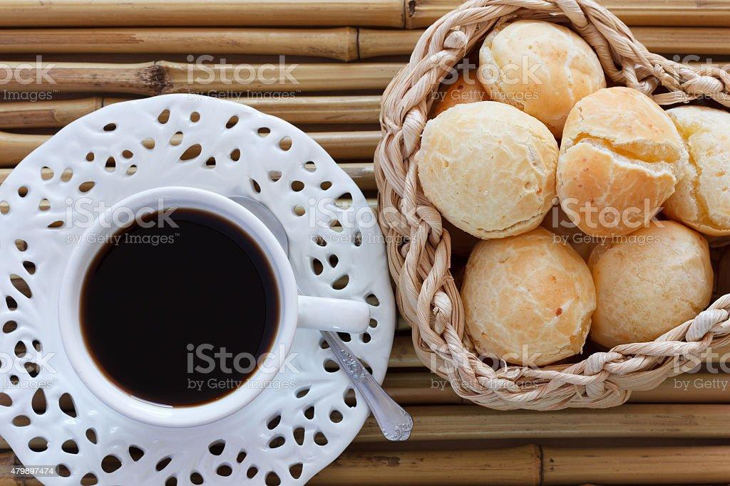 Brazilian snack pao de queijo (cheese bread) stock photo